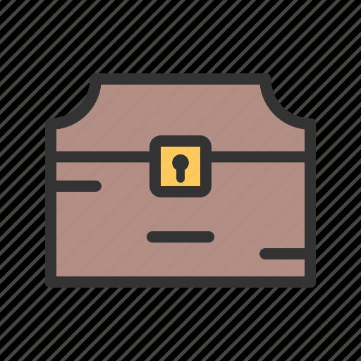 Box, jewelry, gold, treasure, chest, wood, pirate icon - Download