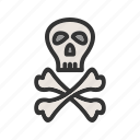 crossbones, danger, pirate, sign, skeleton, skull, wheel icon
