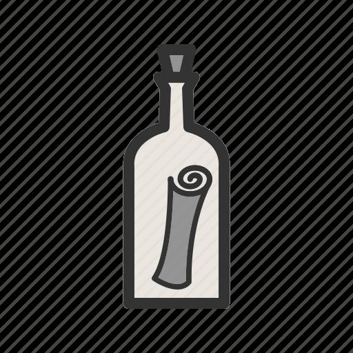 bottle, cork, empty, handmade, pirate, scroll, water icon