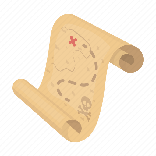 game, map, old, paper, pirate, sketch, trave icon