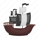 boat, cartoon, game, journey, pirate, sail, ship icon