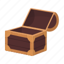 box, cartoon, chest, game, gold, treasure icon