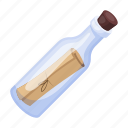 bottle, cork, help, message, note, sos icon