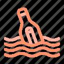 bottle, floating bottle, letter, marine, message bottle, ocean, sea icon