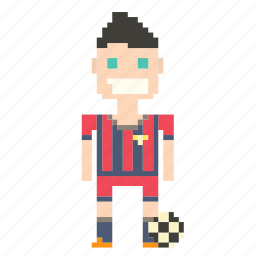 football player, footballer, male, man, person, pixels, soccer, soccer player, sport icon