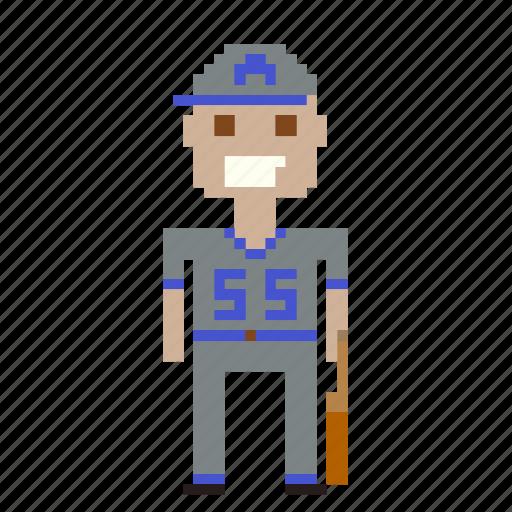 avatar, baseball, baseball player, man, person, pixels icon