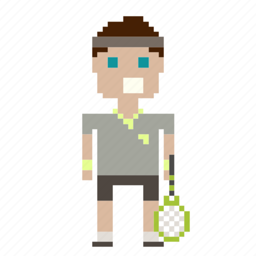 avatar, male, man, person, pixels, sport, tennis, tennis player icon