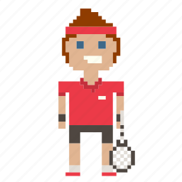 avatar, man, person, pixels, tennis, tennis player icon
