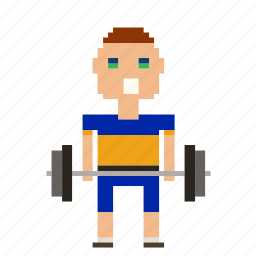 man, person, pixels, sport, weight, weightlifter, weights icon