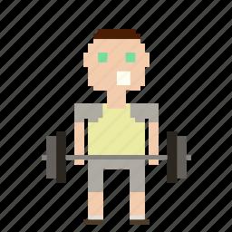 avatar, man, person, pixels, sport, weight, weightlifter, weights icon