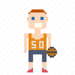 avatar, basketball, basketball player, male, man, person, pixels, sport icon