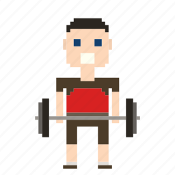barbells, male, man, person, pixels, sport, weight, weightlifter, weights icon
