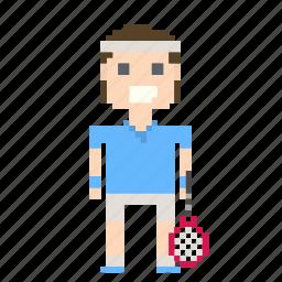 avatar, male, man, person, pixels, sport, tennis, tennis player icon