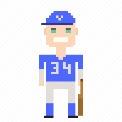 avatar, baseball, baseball player, man, person, pixels, sport icon