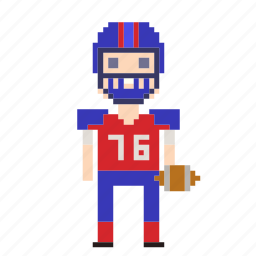 american football, avatar, football, football player, man, person, pixels, sport icon