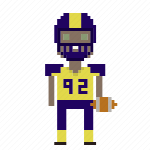 american football, avatar, football, male, man, person, pixels, sport icon