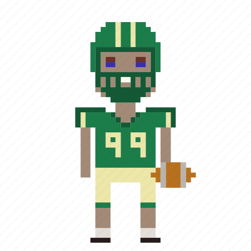 american football, football, football player, man, person, pixels, sport icon