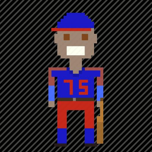 avatar, baseball, baseball player, male, man, person, pixels, sport icon