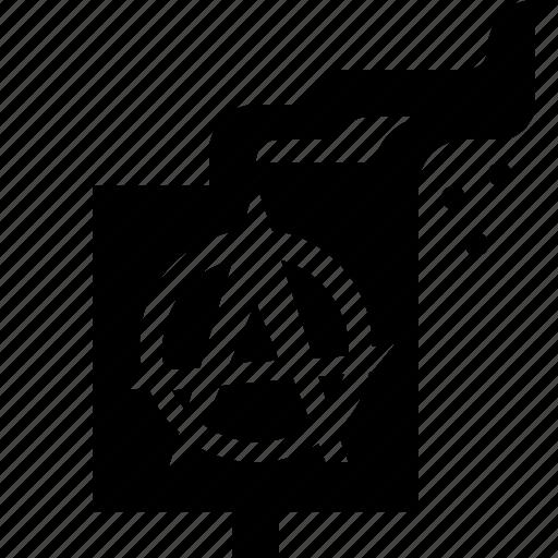 anarchy, burning, flag, riot icon