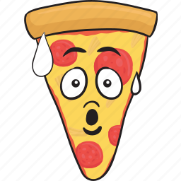 cartoon, emoji, pizza, slice, smiley icon