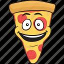 cartoon, emoji, pizza, slice, smiley