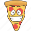 cartoon, emoji, pizza, slice, smiley icon