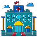 city, country, hospital, infirmary, location, place, sick icon