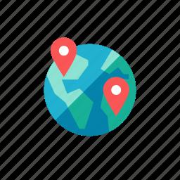 global, globe, gps, location, navigation, pin, planet icon
