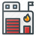 architecture, building, fire, landmark, place, station icon