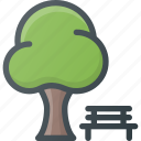 bench, landmark, park, place, tree icon