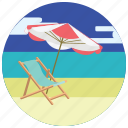 beach, chair, locations, parasol, places, sand, sea icon