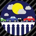 bridge, cars, clouds, locations, moon, places