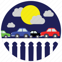 bridge, cars, clouds, locations, moon, places icon