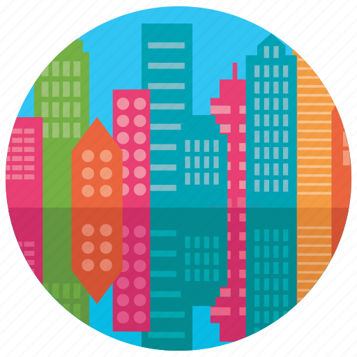 buildings, city, lake, locations, places, reflection icon