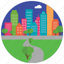 buildings, city, cloud, locations, park, places, trees