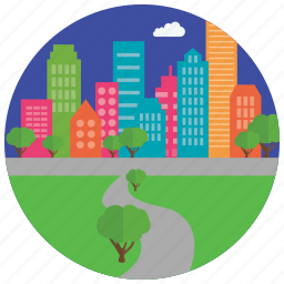 buildings, city, cloud, locations, park, places, trees icon