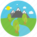 day, locations, mountain, park, places, river, trees icon