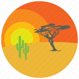 cactus, desert, locations, places, sunset, tree icon