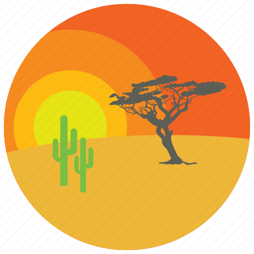 cactus, desert, locations, places, sunset, tree icon