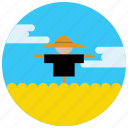 clouds, farm, hat, locations, places, scarecrow, wheat icon