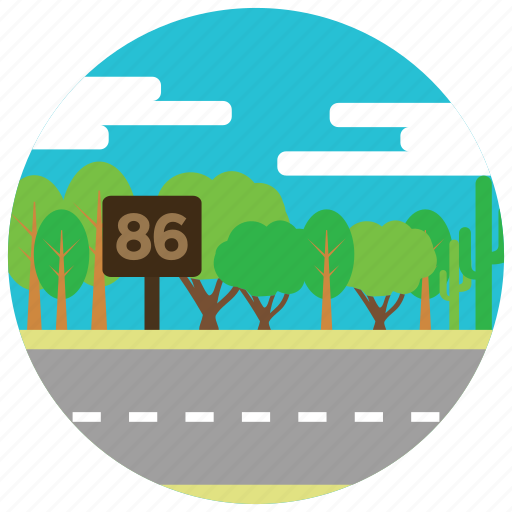 clouds, eighty-six, highway, interstate, locations, places, trees icon