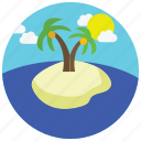 clouds, island, locations, palmtrees, places, sea, sun icon