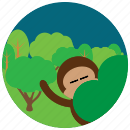 forest, jungle, locations, monkey, places, trees icon