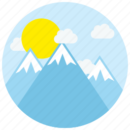 clouds, icecaps, locations, mountains, places, sun icon