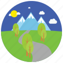 locations, moon, mountains, night, park, places, trees icon