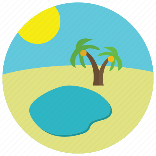 locations, oasis, palm, sand, sun, tree, water icon