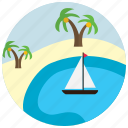 boat, lake, oasis, palm, places, sand, tree icon