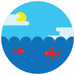 clouds, fish, locations, ocean, places, sea, sun icon