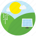 clouds, locations, outdoors, places, solar panel, sun, windmills icon