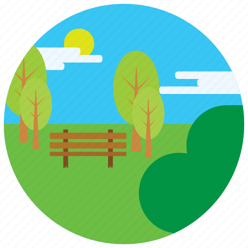 bench, clouds, locations, park, places, sun, trees icon